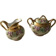 Beautiful Antique Pickard Decorated French Limoges Cream and Sugar Set Violets and Gold - Red Tag Sale Item