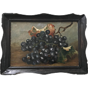 Antique Still Life Grapes Oil Painting