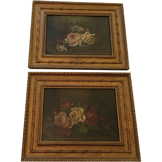 Exquisite Pair Antique Roses Oil Paintings in Gorgeous Original Frames, Signed Ayer