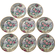 Antique Set of 8 Hand Painted Roses Plates