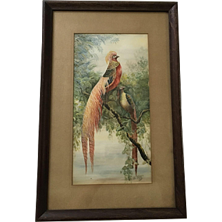 Amazing Pair of Birds Painting, Signed 1926