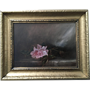 A Single Pink Rose Antique Oil Painting