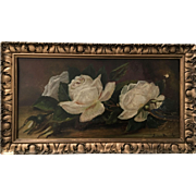 Antique Oil Painting of White Roses, Signed