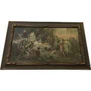 "Beautiful Antique Emmanuel Oberhauser Print ""The Feast of Venus"" With Cherubs and Pink Roses"