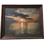 Lovely Old Sunset Over Water Seascape Oil Painting, Signed Montague