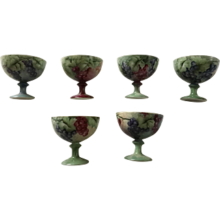 Beautiful Antique Set of 6 Fruit or Punch Cups, Limoges, Hand Painted Grapes