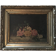 Antique Roses Oil Painting Signed Appleby 1894