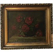 Antique Roses Oil Painting Signed Borland