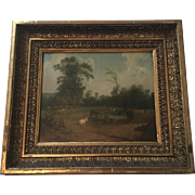 Antique 1830 Pastoral Scene With Goats and Cow Signed LB Tyre 1830