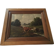 Wonderful 19th Century Antique Cows Oil Painting Signed