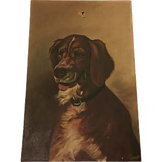 Antique 1893 Dog Oil Painting