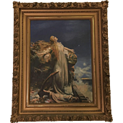 Dramatic Old Oil Painting of a Woman By the Sea Signed Delong