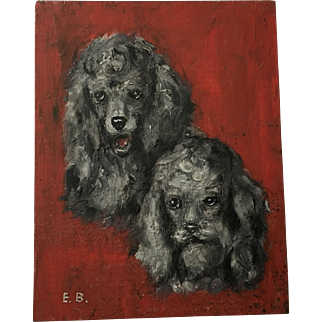 Precious Vintage Poodle Dog Oil Painting