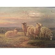 19th Century Antique Sheep Oil Painting on Canvas Signed