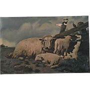 Antique Sheep Oil Painting, Chippy Shabby Chic