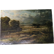 Antique Landscape With Sheep Oil Painting Signed Maxwell