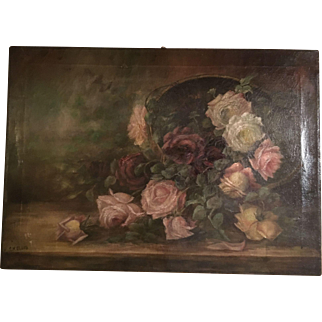 Gorgeous Antique Roses Oil Painting on Canvas Signed Ellis