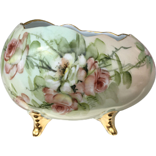 Beautiful Antique E. Miler Footed Porcelain Bowl With Roses