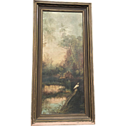 Florida Landscape With Egret Oil Painting Signed 1921
