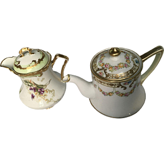 Limoges and Nippon - Two Precious Antique Creamers or Mini Teapots For One
