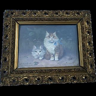 Sophie Sperlich (1863-1906, German) Kittens Oil Painting