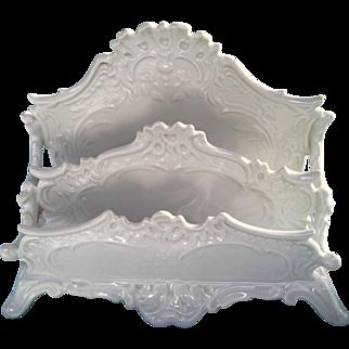Ornate Antique Bavarian Letter Holder Mint Beautiful White Porcelain Like French Limoges