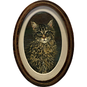 Antique Kitten Cat Oil Painting From France