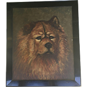 Old Dog Oil Painting Signed