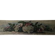 Gorgeous Antique Roses Yard Long Oil Painting Shabby Chic - Red Tag Sale Item