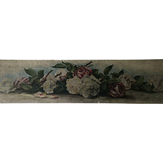 Gorgeous Antique Roses Yard Long Oil Painting Shabby Chic