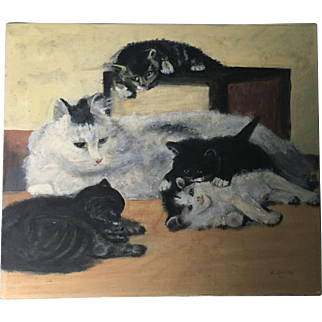 Antique Cat and Kittens Oil Painting