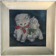 Sweet Vintage Oil Painting of Kittens Cats With Bows, Signed Jaenichen