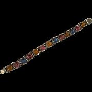 Vintage Sterling Silver Bracelet With Colored Stones