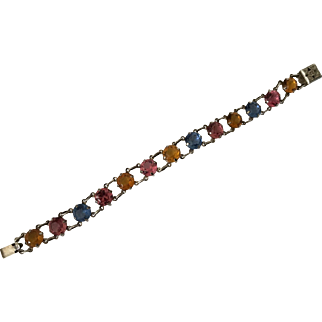 Vintage Sterling Silver Bracelet With Colored Stones
