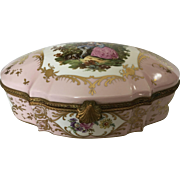 Gorgeous Huge Vintage French Limoges Porcelain Jewelry Box