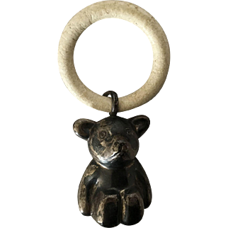 Vintage Sterling Silver Bear Baby Teething Ring Rattle, Large