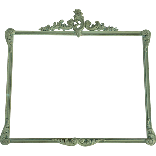 Large Antique Carved Wood Frame Original Green Paint Shabby Chic