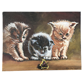 Vintage Oil Painting of Kittens With Butterfly