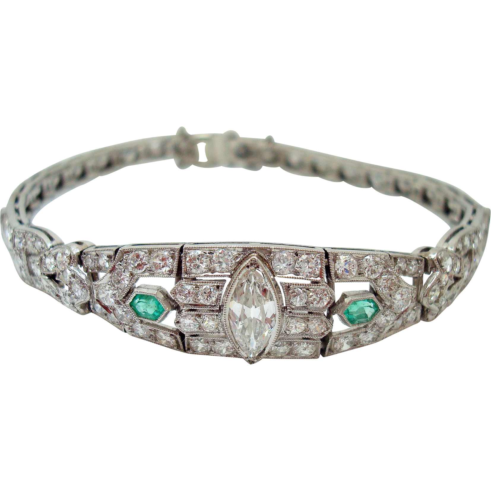 Platinum 4 Carat Diamond & Emerald Bracelet