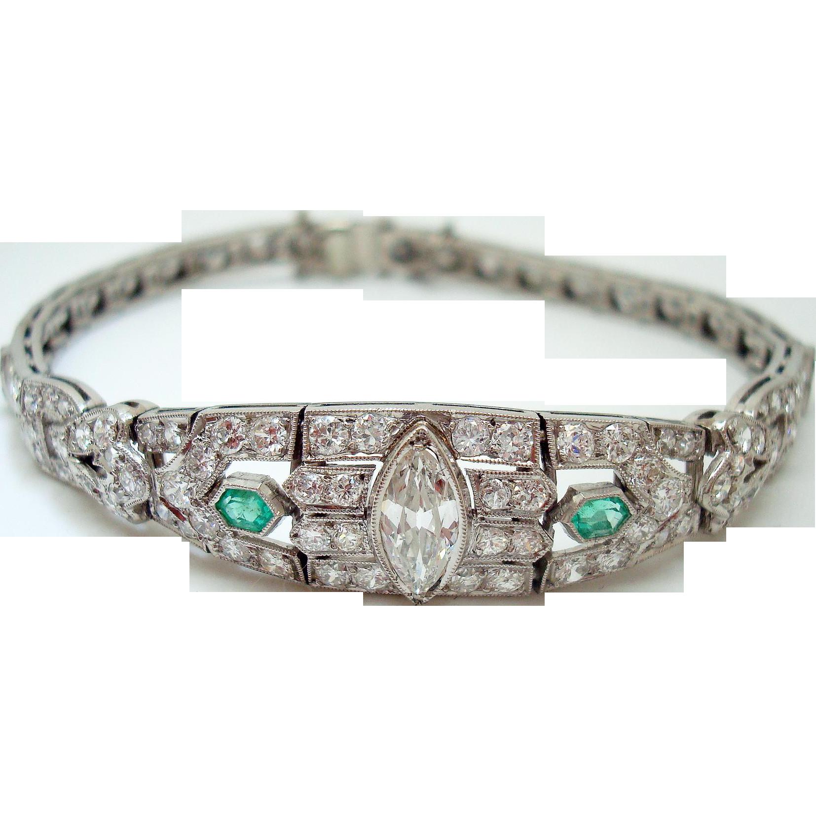 platinum 4 carat diamond amp emerald bracelet from