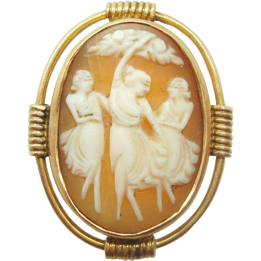 14 Karat Gold Genuine Natural Shell Cameo Ring with the Three Graces