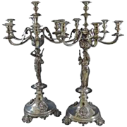 Pair of 7 light Silver Candelabra Epergne Austrian