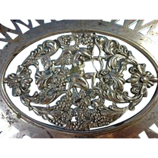 Theodore Starr Sterling Silver Basket pierced with Cherubs & Grapes 	sku1326