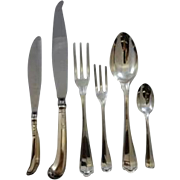 Italian 800 silver Saint Mark pattern flatware set for 12
