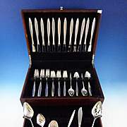 Crystal by International Sterling Silver Flatware Set 12 Service 54 Pcs Modern