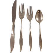 Vivant by Oneida Sterling Silver Flatware Set Service 51 Pieces Modernism Sleek