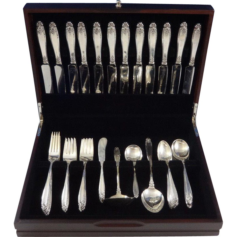 Prelude by International Sterling Silver Flatware Set 12 Service 76 Pieces - Prelude By International Sterling Silver Flatware Set 12 Service