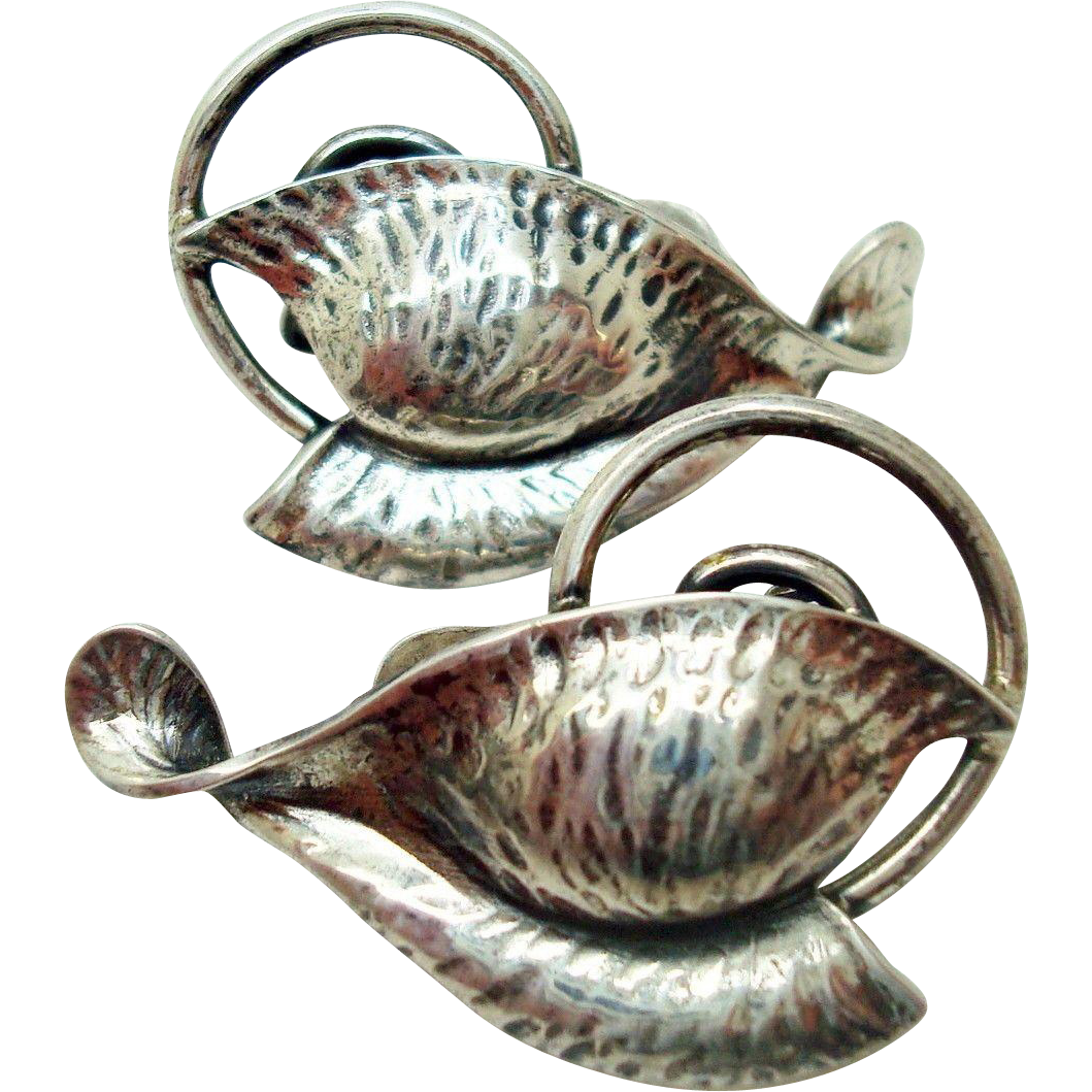 Arts & Crafts Sterling Silver Leaf Clip Earrings