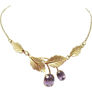 14 Karat Gold Genuine Natural Amethyst Necklace with Brushed Leaves