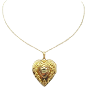 10 Karat Yellow Gold Heart Locket with 14 Karat Chain
